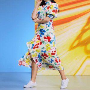 NWT Rixo x Target Mock Neck Cascade Ruffle Dress